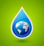 Goccia di acqua ed icona del pianeta Terra Fotografia Stock Libera da Diritti