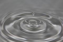 Goccia di acqua sospesa sopra Gray Water Fotografie Stock Libere da Diritti