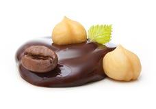 Goccia di cioccolato con i dadi ed il chicco di caffè Fotografia Stock