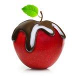 Goccia di cioccolato sulla frutta rossa della mela Immagini Stock Libere da Diritti