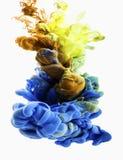 Goccia di colore Oro, blu Immagini Stock Libere da Diritti