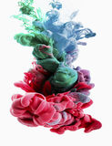 Goccia di colore rosa caldo, smaragd, verde, blu-chiaro Fotografia Stock