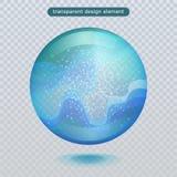 Goccia di pioggia dell'acqua isolata su fondo trasparente Bolla dell'acqua o palla di superficie di vetro per la vostra progettaz illustrazione vettoriale