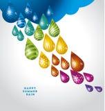 Goccia di pioggia divertente enorme dell'acqua nei colori dell'arcobaleno royalty illustrazione gratis