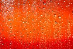Goccia di pioggia su fondo arancio Fotografie Stock