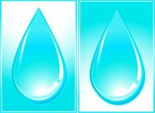 Goccia lucida dell'acqua blu Fotografie Stock