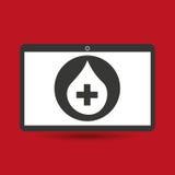 Goccia trasversale medica del sangue di servizio di Notebook PC Immagini Stock Libere da Diritti