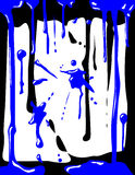 Gocciolamenti blu della vernice Fotografie Stock