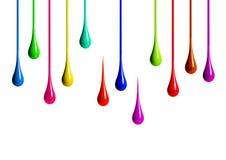 Gocciolamenti colorati della pittura su fondo bianco fotografia stock