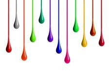 Gocciolamenti colorati della pittura su fondo bianco Fotografia Stock Libera da Diritti