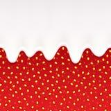 Gocciolamenti del yogurt ed inceppamento di fragola seamless Fotografia Stock