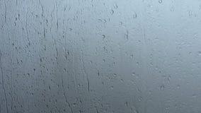 Gocciolamenti dell'acqua su un vetro di finestra archivi video