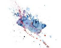 Gocciolamenti rosa e blu dell'acquerello luminoso della macchia Illustrazione astratta su un fondo bianco illustrazione di stock