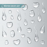 Goccioline di acqua su un fondo trasparente Illustrazione di vettore Fotografia Stock