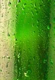 Goccioline sulla bottiglia di birra Immagine Stock