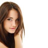 Goce alegre hermoso de la muchacha adolescente aislado en blanco Fotos de archivo