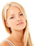 Goce alegre hermoso de la muchacha adolescente aislado en blanco Fotografía de archivo