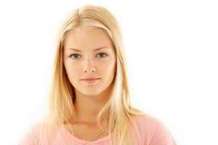 Goce alegre hermoso de la muchacha adolescente aislado en blanco Imagen de archivo libre de regalías