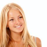 Goce alegre hermoso de la muchacha adolescente aislado en blanco Fotografía de archivo libre de regalías