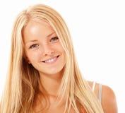 Goce alegre hermoso de la muchacha adolescente aislado en blanco Imagen de archivo