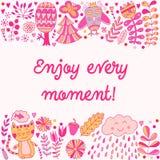 Goce de cada tarjeta del ejemplo de las letras del momento, diseño infantil lindo: florezca los garabatos, el gato y el búho en e Fotos de archivo