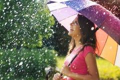 Goce de la lluvia Imágenes de archivo libres de regalías