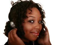 Goce de la muchacha del afroamericano Imagenes de archivo