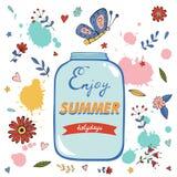 Goce de la tarjeta de verano con el tarro del flor y de cristal Imagen de archivo
