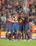 Goce de los jugadores de FC Barcelona foto de archivo libre de regalías