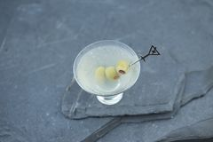 Goce de una ginebra sucia recientemente sacudida martini en una tarde caliente del verano con los amigos y la familia durante un  imagen de archivo libre de regalías