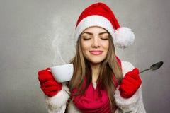 Goce del café de la Navidad Imagenes de archivo