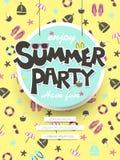 Goce del cartel del partido del verano Imagen de archivo libre de regalías