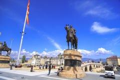 Goce Delchev铜雕塑在街市斯科普里,马其顿 免版税图库摄影