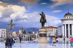 Goce Delchev铜雕塑在街市斯科普里,马其顿 库存照片