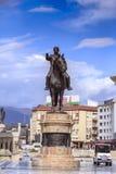 Goce Delchev铜雕塑在街市斯科普里,马其顿 库存图片