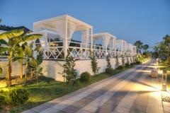 Gocek, Turkey -11 July 2017- Luxury Hotel Rixos Premium Gocek Resort at sunset, Luxury resort with pavilion in sunset.  Royalty Free Stock Photos