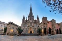 Gocka Barcelona katedra przy wschód słońca, Hiszpania zdjęcie stock