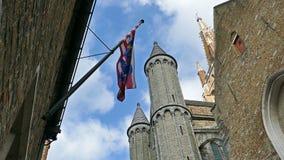 Gocka fasada i wysoka dzwonnica kościół Nasz dama, Bruges, Belgia zbiory wideo
