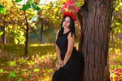 Gocka kobieta przy colorfull natury tłem Zdjęcia Stock