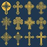 Gockiego katolika krzyża wektorowe ikony, catholicism symbol royalty ilustracja