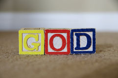 God. Toy blocks spelling out the word God Stock Photos