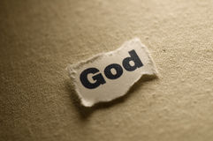 God. Picture of a word God Stock Photos
