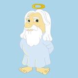 God. Cartoon illustration of God with a halo stock illustration