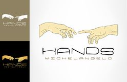 God and Adam`s hands logo. Logo design vector illustration Stock Photos