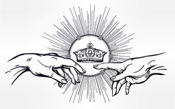 God and Adams hands with divine crown. Stock Image