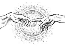 God and Adams hands. Modern vector illustration. The Creation of Adam. Philosophy of the Universe and religious motives. royalty free illustration