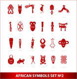 God african symbols set  red color Stock Image