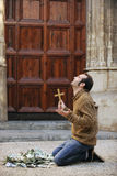 God is answering prayer: Faithful man with dollar bills Stock Images