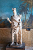God Anubis statue. White marble statue of the god Anubis, jackal headed god of the Egyptians. Lord of mummification, who guided the dead to the underworld royalty free stock photo