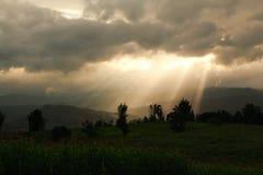 God beam gold light hill mountain royalty free stock photos